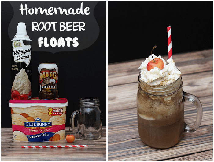 homemade root beer floats at sophistishe