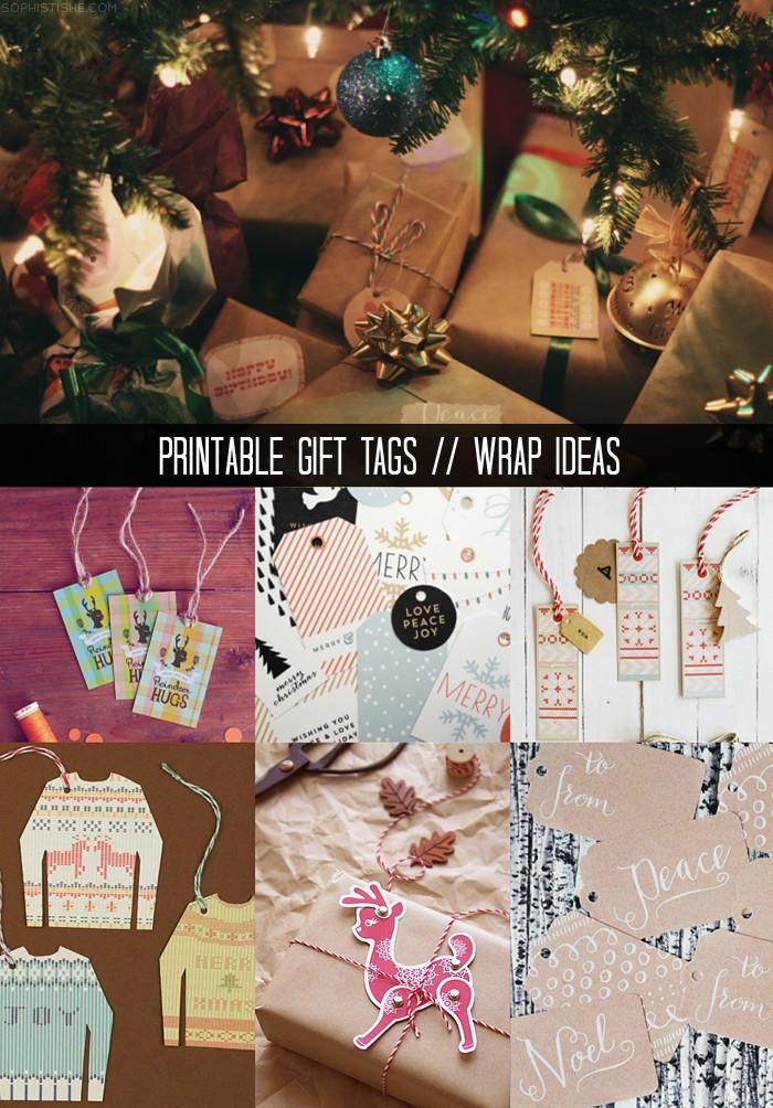 DIY Holiday Gift Wrap Ideas + Printable Tags