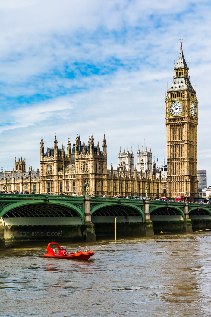 Palace of Westminster with Elizabeth Tower and Westminster Bridge, viewed from across the River Thames.