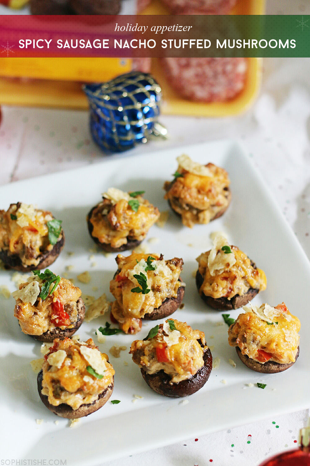 Spicy Sausage Nacho Stuffed Mushrooms via @sheenatatum and @chewsylovers
