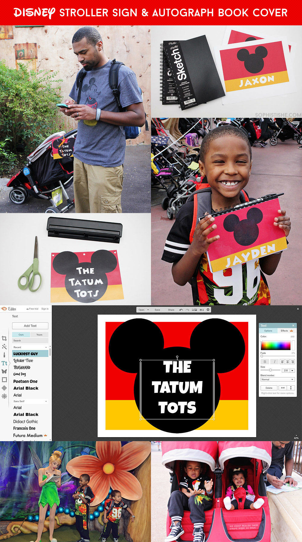 DIY Disney Autograph Book & Stroller Sign - stand out on your Disney vacation!