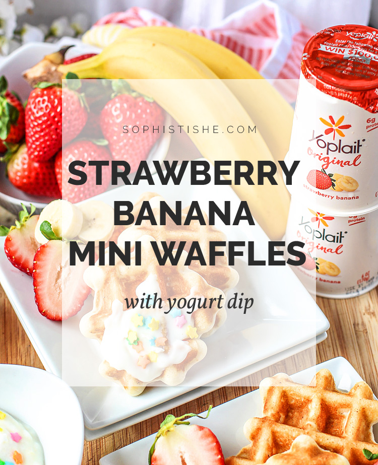 Kids Snack Idea: Strawberry Banana Mini Waffles with Yogurt Dip