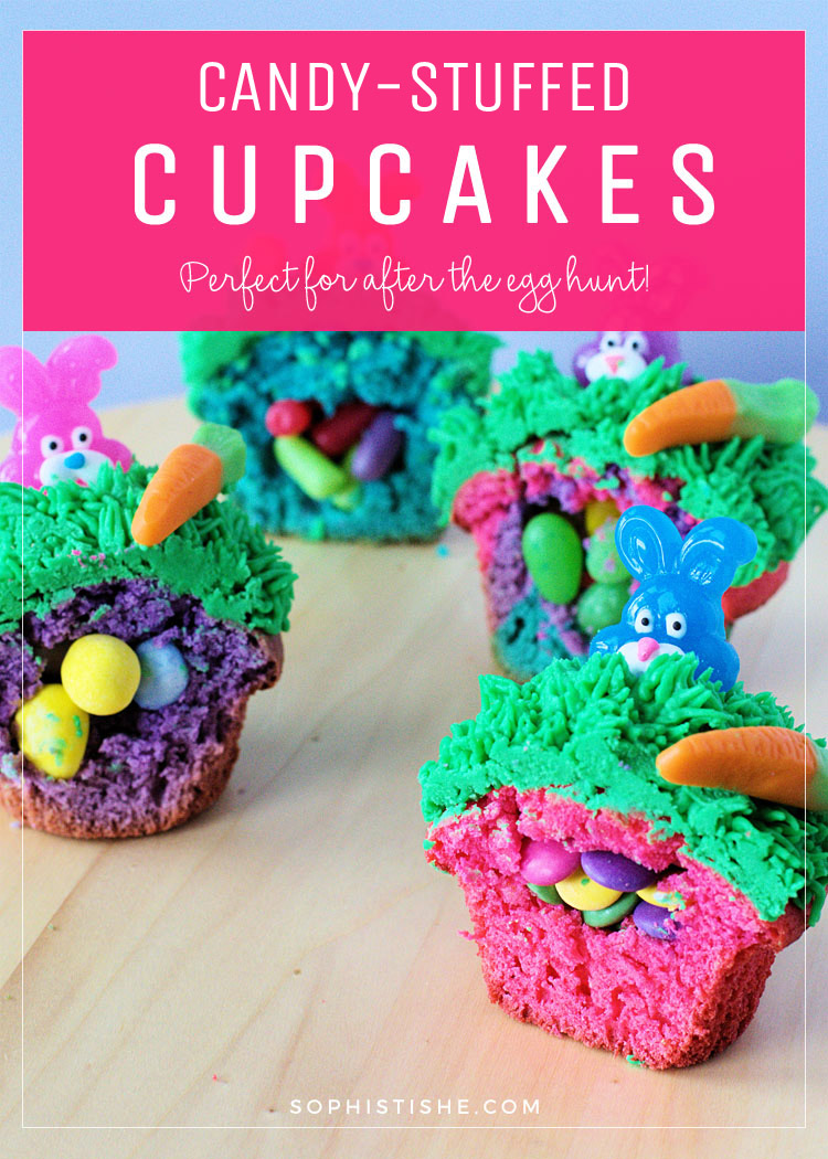 Candy-Stuffed Spring Easter Cupcakes