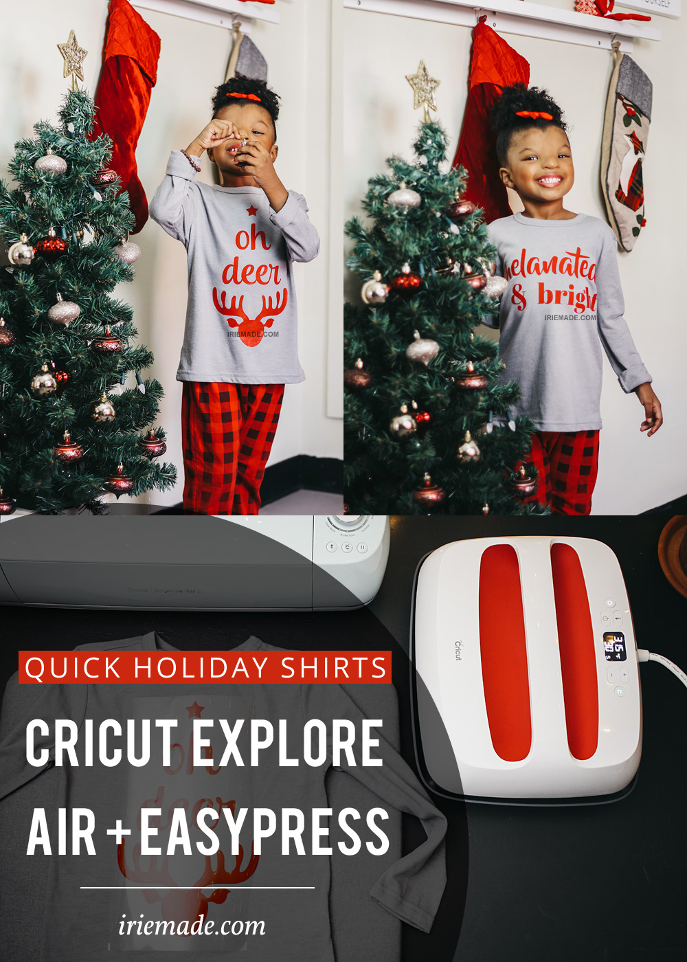 Quick Holiday Shirts Using Cricut Explore Air 2 + Easypress 2