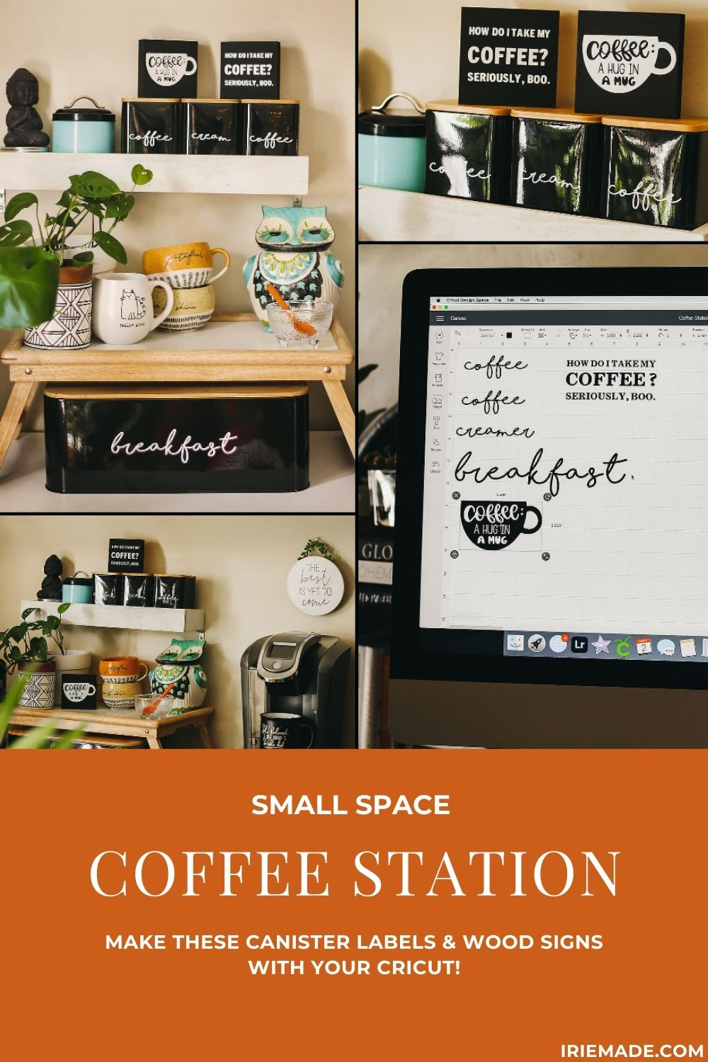Small Space Coffee Station: Cricut Canister Labels & Wood Signs